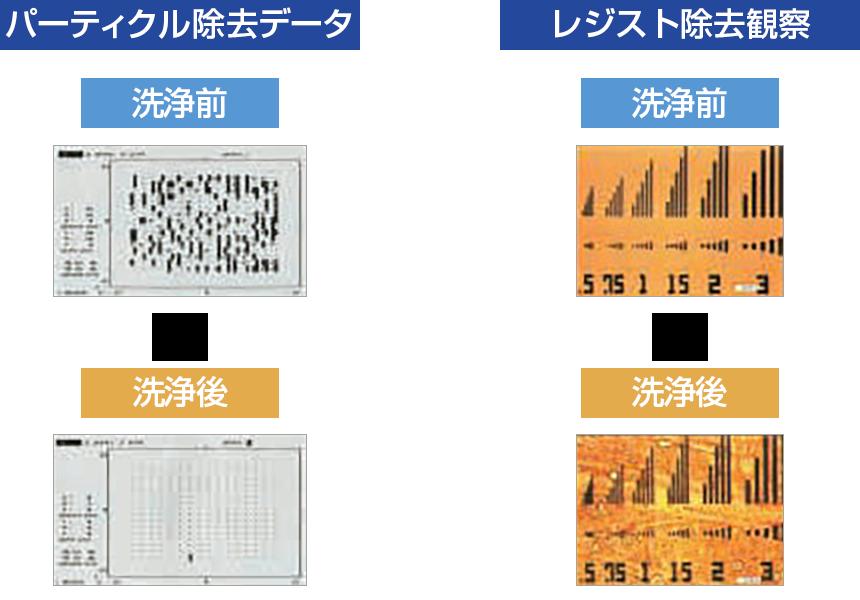 パーティクル除去データ/レジスト除去観察
